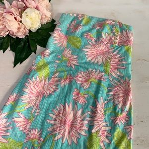 Lilly Pulitzer Floral Strapless Tie Dress Size 0